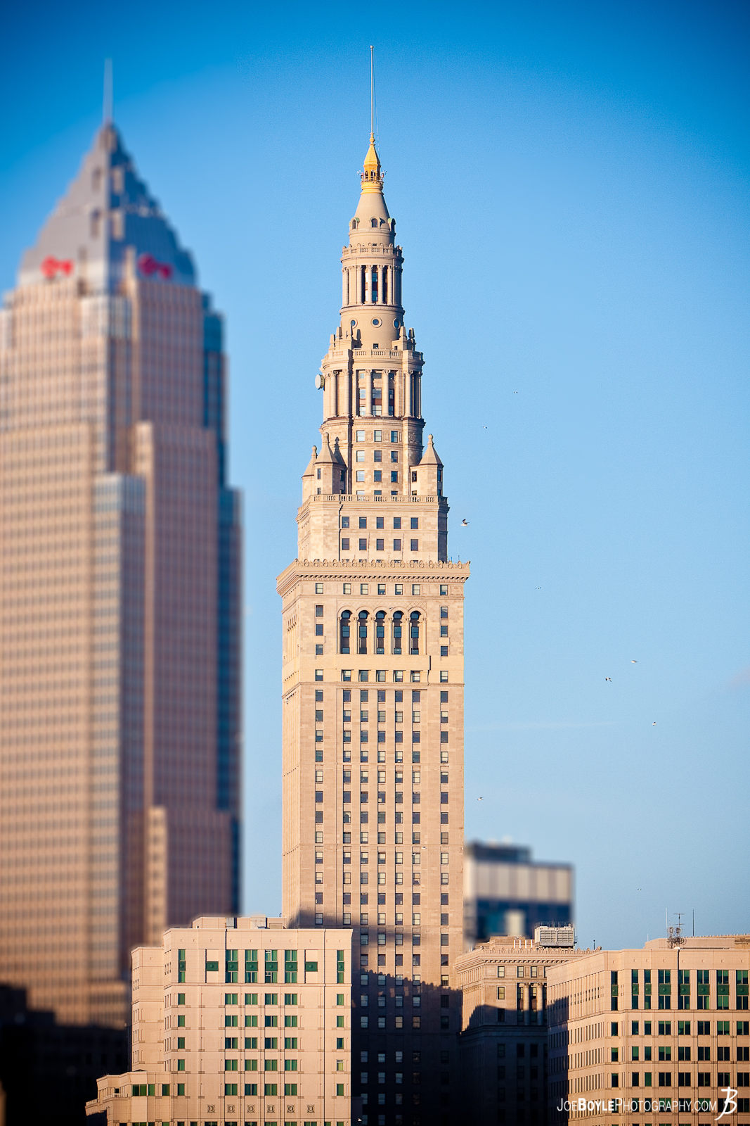 I took this image from the Hope Memorial Bridge. Featured here is the Terminal Tower and the blurred out Key Tower.