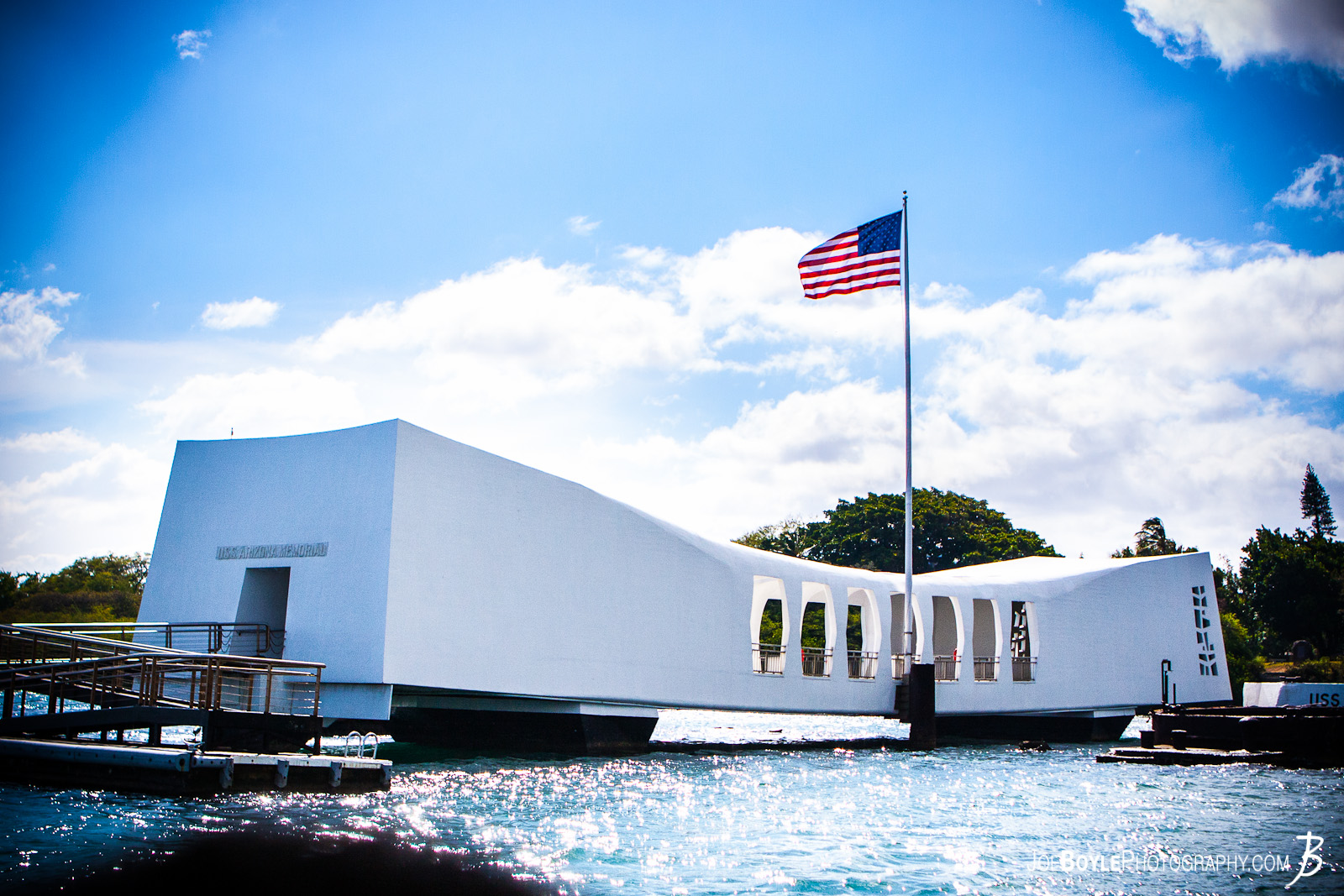 While on a trip to Hawaii I made a visit to Pearl Harbor on Oahu. This picture is of the Arizona Memorial. This memorial is built over the ship which came to it's final resting place after the attack on pearl harbor.