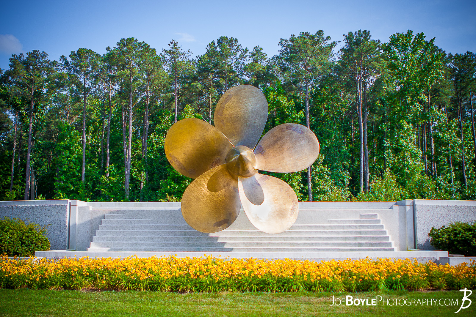 This propeller on display at the Mariner's Museum and Park is from the SS United States which was a record-setting trans Atlantic passenger liner built by Newport News Shipbuilding and Drydock Company in the late 1940s. Read more about this propeller and the Mariner's Museum.