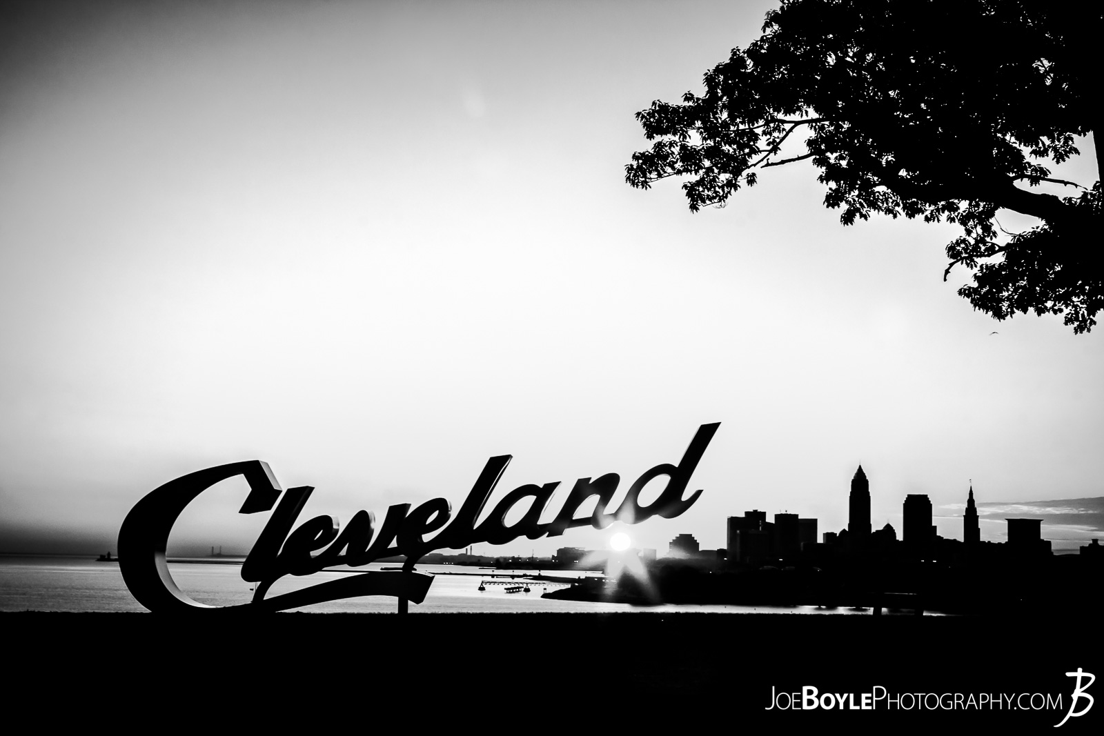 This photo is of the newly installed sign at Edgewater Park (The Upper Portion), right at sunrise! This sign was installed shortly after the Cleveland Cavs won the championship! You can find the color version of this photo here: Cleveland Sign During Sunrise At Edgewater Park (City Beneath The Sign II)