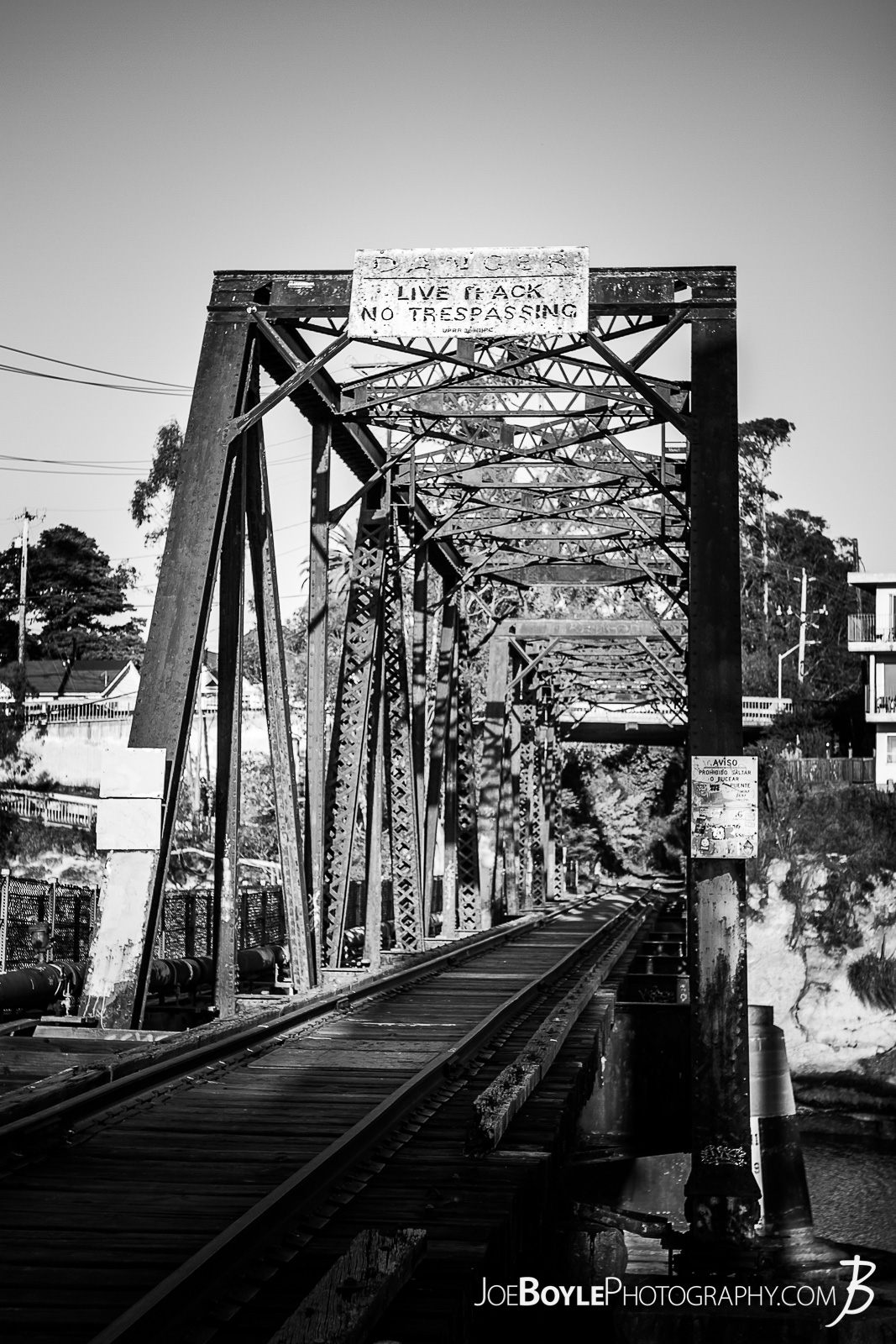 While I was visiting Santa Cruz I found this bridge! Here is a black and white photo of this unique, industrious landmark. I love the look of the iron or steel pylon supports.