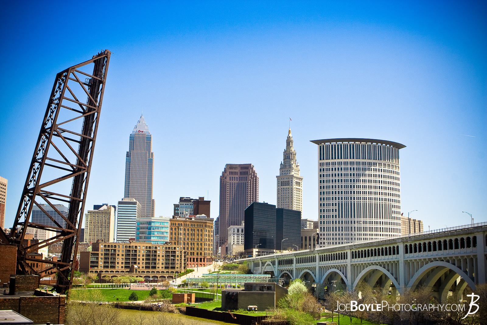 A photo of the Cleveland Skyline. From left to right the 4 tallest buildings are The Key Tower, The BP-Huntington Building, The Terminal Tower and the Federal Courthouse.