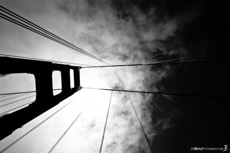 golden-gate-bridge-tower-cables-sky-bw