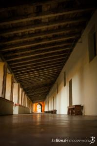 hallway-with-wood-rafters-carmel-mission-basilica