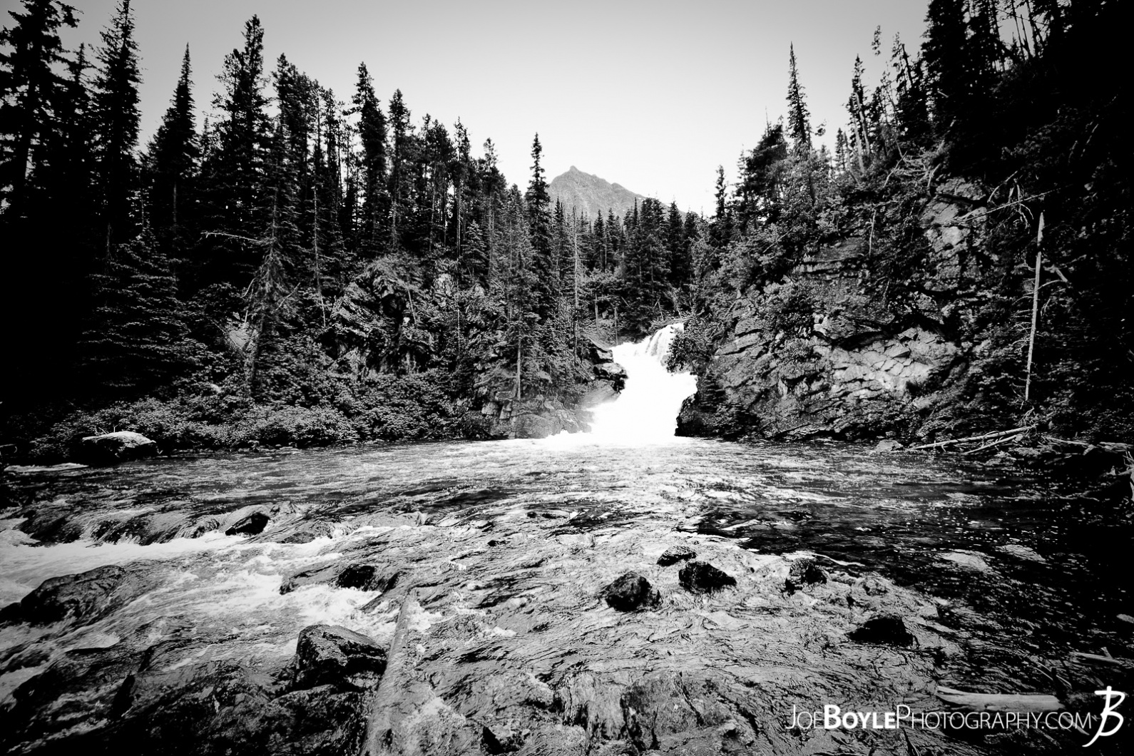 waterfall-in-glacier-national-park-wide-black-white