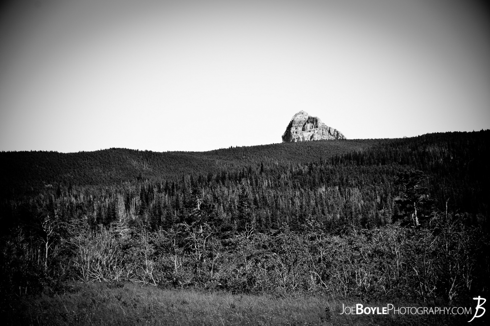 rock-in-the-distance-at-glacier-national-park-black-white