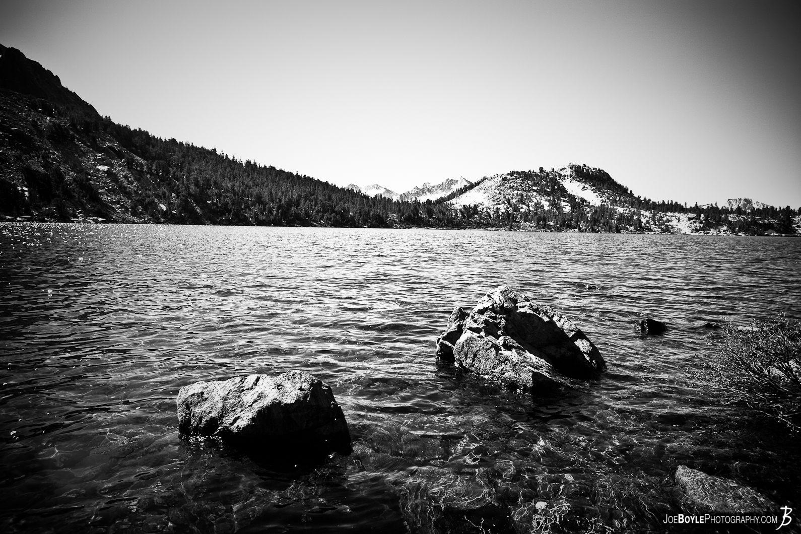 two-rocks-lake-mountain-black-white