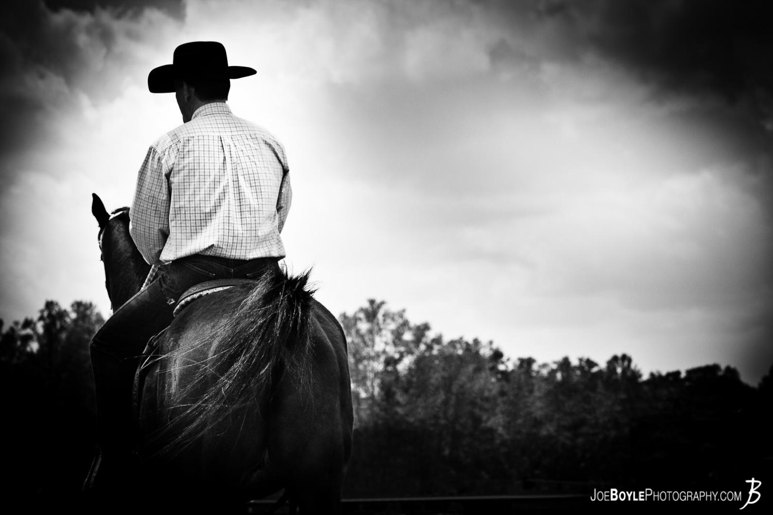 horse-and-rider-riding-off-black-white