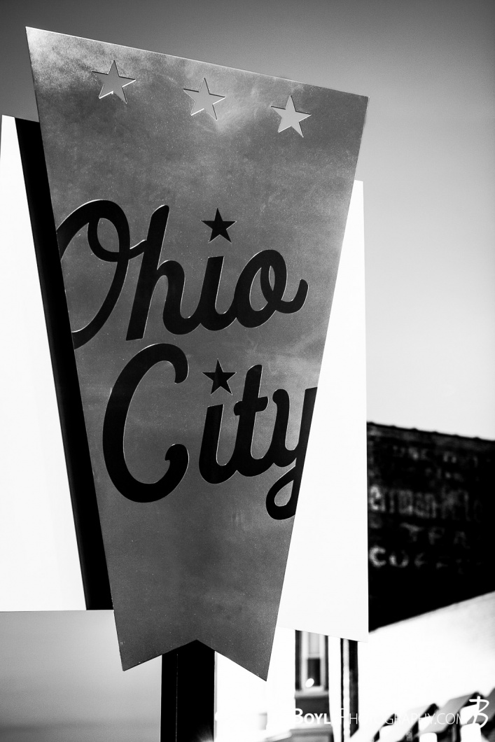 ohio-city-sign-bw-near-westside-of-cleveland