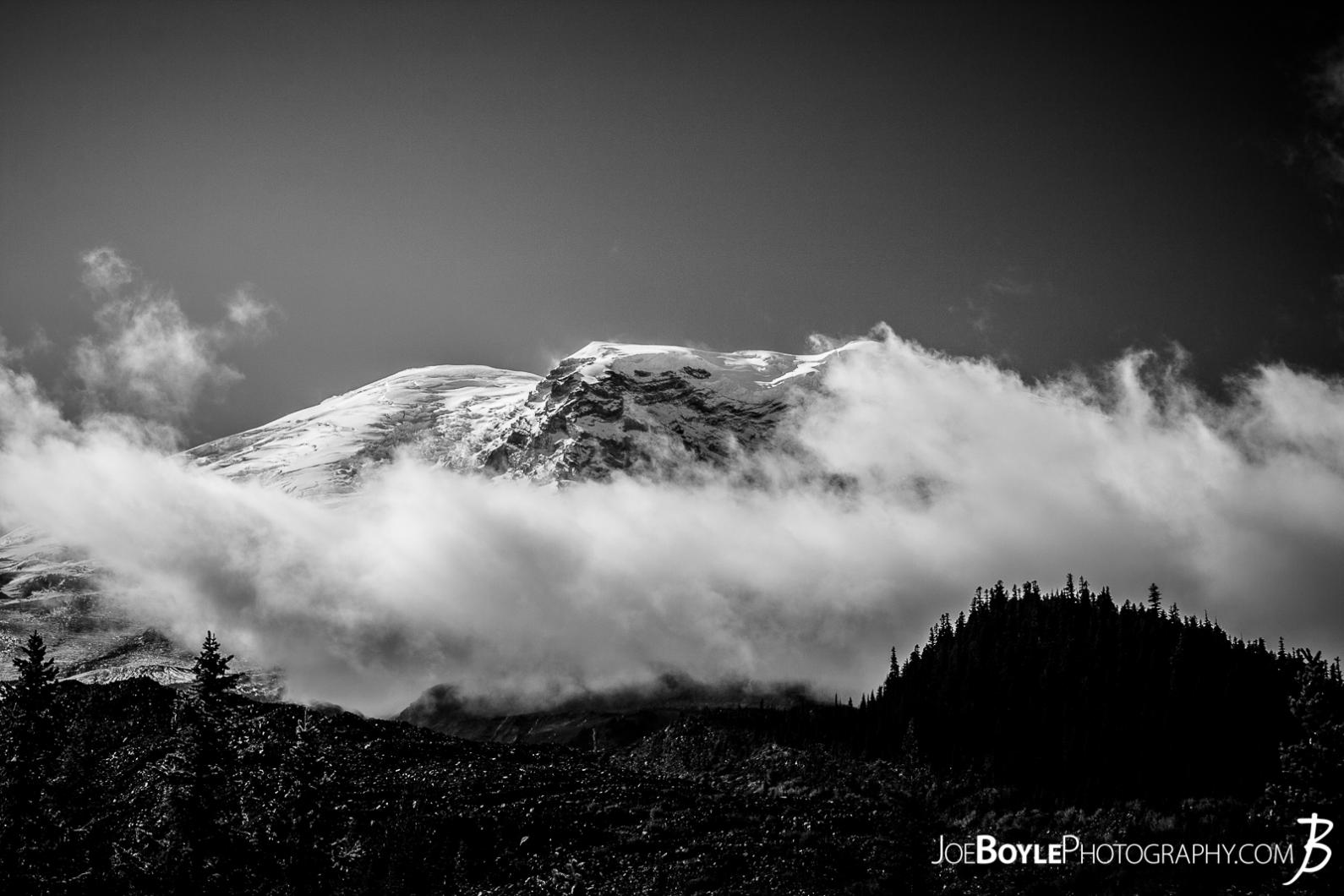 mount-rainier-with-clouds-and-treeline-black-white